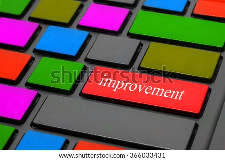 message on keyboard enter key, for improvement business concepts - stock photo