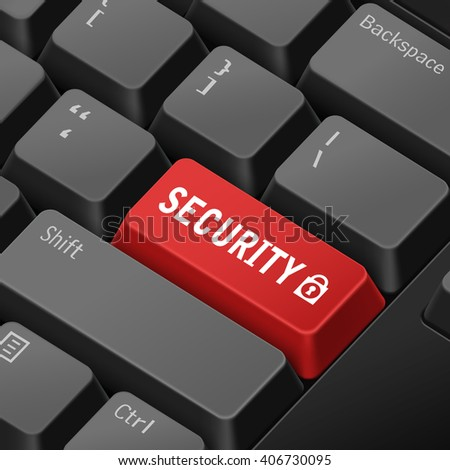 message on keyboard enter key for security concepts. 3D rendering - stock photo