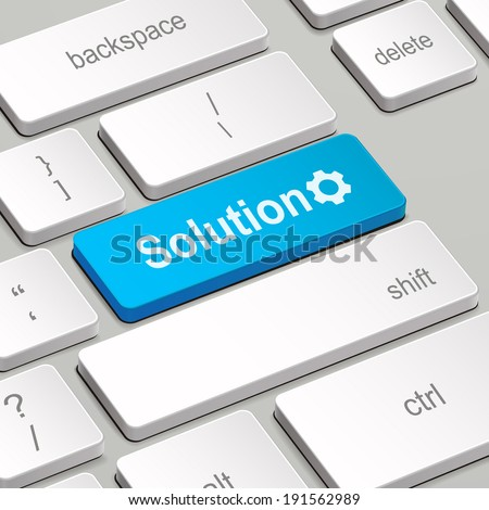message on keyboard enter key, for solution concepts - stock photo