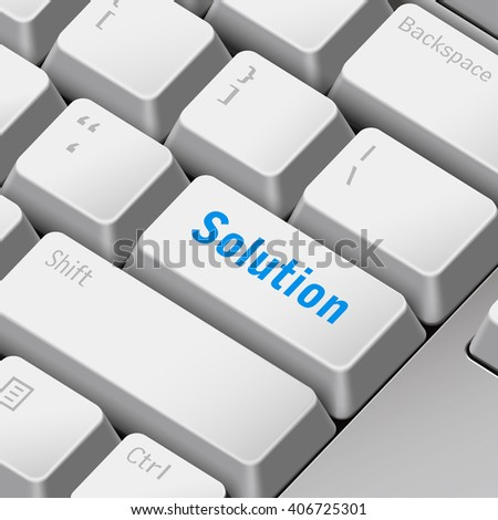 message on keyboard enter key for solution concepts. 3D rendering - stock photo