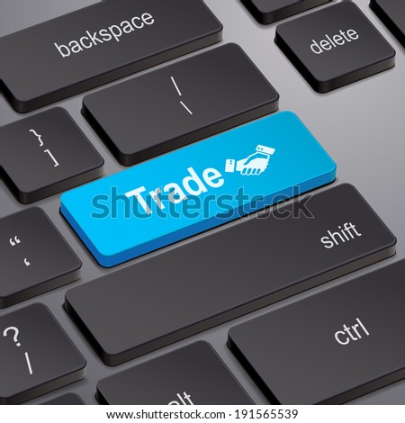 message on keyboard enter key, for trade concepts - stock photo