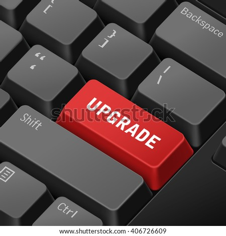 message on keyboard enter key for upgrade concepts. 3D rendering - stock photo