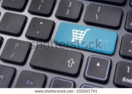 message on keyboard pad, for online or internet shopping concepts. - stock photo