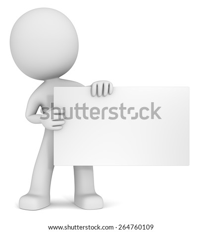 Message. The dude 3D character holdning blank card. White, Copy Space. - stock photo