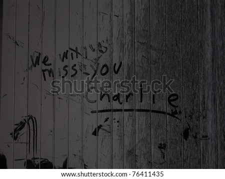 Message written in debris dust by unknown person - lobby of hotel across the street from Ground Zero WTC 9-18-2001 - stock photo
