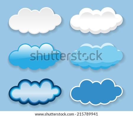 Messages in the form of clouds on blue background. Set. Illustration.