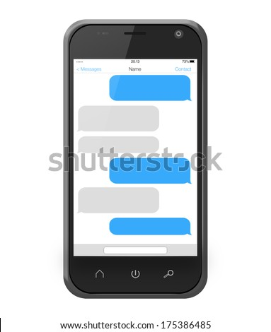 Messages on a smartphone screen in iphone style isolated on white - stock photo