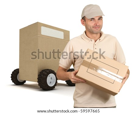 Messenger delivering a parcel with a huge box on wheels on the background - stock photo