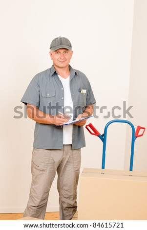 Messenger mature male courier delivering parcel boxes. Shipping and logistics. - stock photo