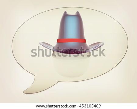 messenger window icon. 3d blue metallic hats on white ball. Sapport icon . 3D illustration. Vintage style. - stock photo