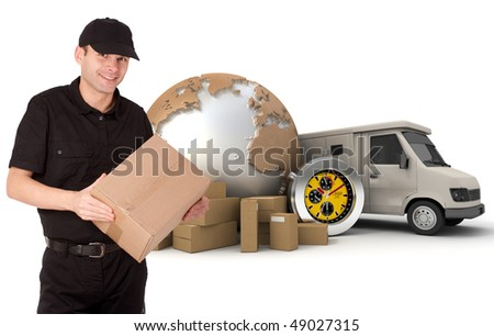 Messenger with a background composed of  a world map, packages, a chronometer and a van - stock photo
