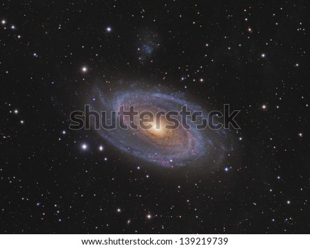 Messier 81 (M81): Spiral Galaxy in the constellation Ursa Major - stock photo