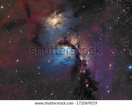 Messier 78: This is a reflection nebula about 1,600 light years away in the constellation Orion. - stock photo