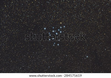 Messier39 with Galaxy Nebula,stars and space dust in the universe long expose. - stock photo