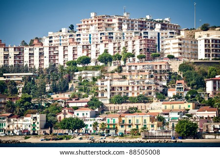 Messina cityscape taken from the sea, Sicily, Italy
