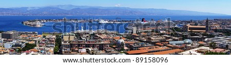 Messina harbour panorama. Sicily island.  Italy - stock photo