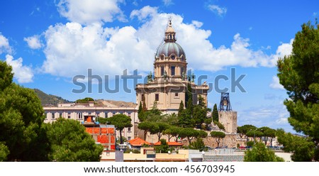 MESSINA, ITALY - 17 MAY 2012: Panoramic view of the Temple Christ the King , Messina, Sicily. Italy.