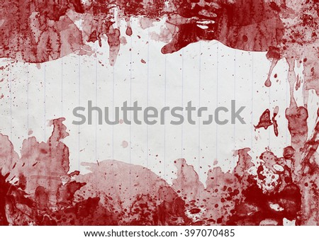 MEssy blood stains on aged paper background