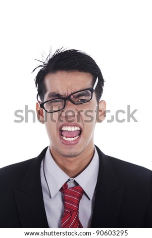 Messy businessman screaming expressing his anger - stock photo