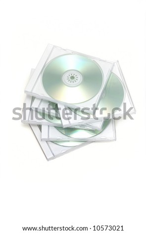 messy cd jewel case stack on white - stock photo