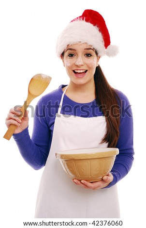 Messy christmas chef festive cooking on white background - stock photo
