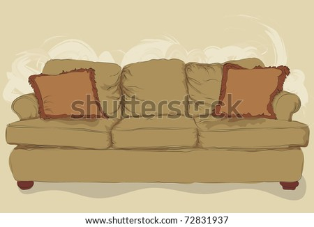 Messy hand drawn couch - stock photo