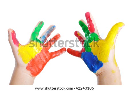 Messy hands, childhood - stock photo