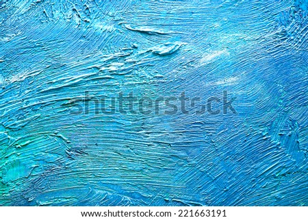 Messy layer of paint. Grunge blue wall texture. - stock photo