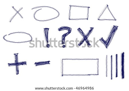 Messy natural blue ink design elements and characters. Real media illustration. - stock photo