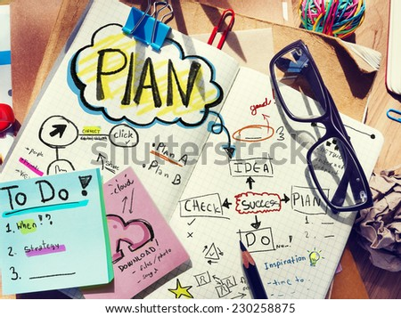 Messy Notes with No People and Plan Concept - stock photo