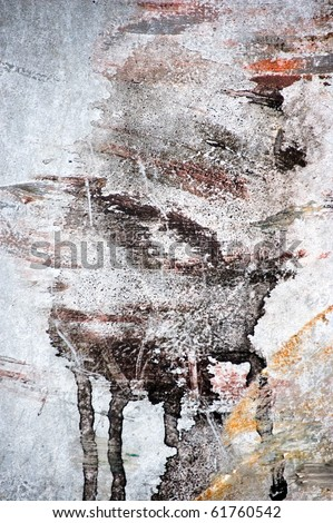 messy painted wall freak background - stock photo