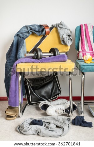Messy room. Fitness Dumbbell. Lifestyle. Teenager. Room. Space. Chaos. - stock photo