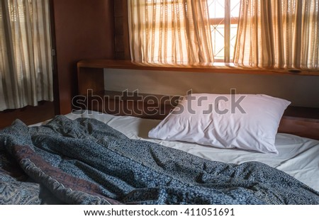Messy white bed, - stock photo