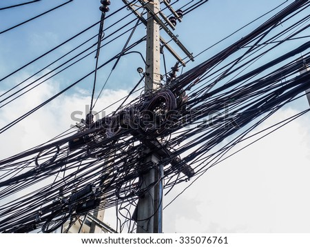 Messy Wire On Electricity Post Stock Photo 335076761 - Shutterstock