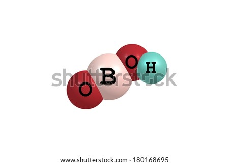 Metaboric acid is the name for a family of inorganic compounds formed by the dehydration of boric acid. These are colourless solids with the empirical formula HBO2. - stock photo