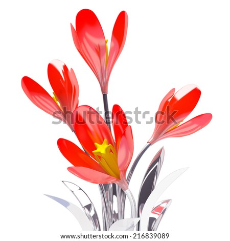 metal abstract 3d flower on white background - stock photo