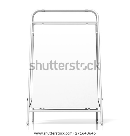 Metal advertising stand, with copy space board. Front view. 3D illustration isolated on white background - stock photo