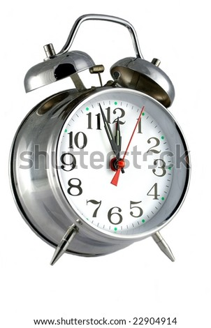 metal alarm-clock on white background