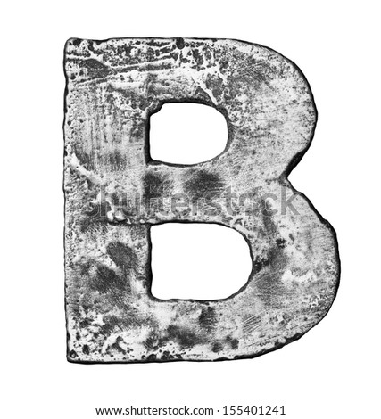 Metal alloy alphabet letter B - stock photo