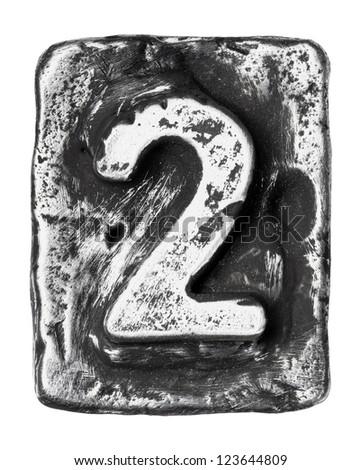 Metal alloy alphabet number 2 - stock photo