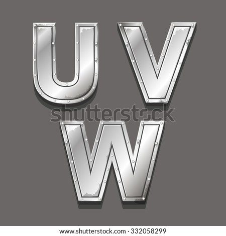 Metal alphabet letters and symbols U V W - stock photo
