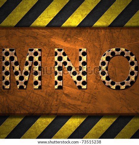 Metal Alphabet letters on rusty metal with warning strip - stock photo