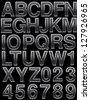 Metal alphabet set on black - stock