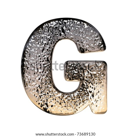 "Metal alphabet symbol on white background, ""G"" - stock photo"