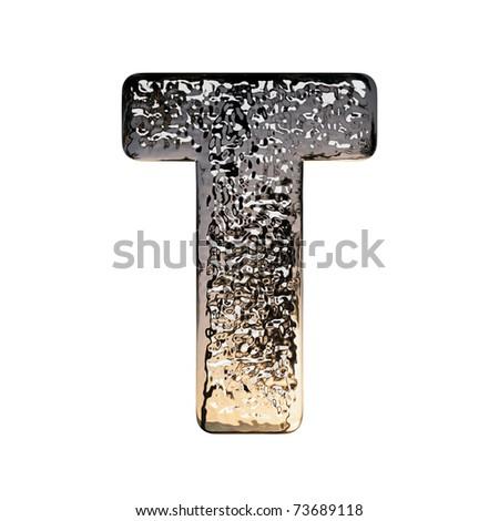"Metal alphabet symbol on white background, ""T"" - stock photo"