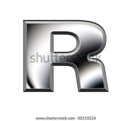 Metal alphabet symbol - R,Reservation path