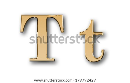 Metal alphabet symbol T - gold - stock photo