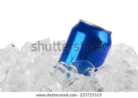 metal aluminum beverage drink can in ice isolated on white background - stock photo