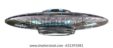 Metal and silver vintage UFO isolated on white background 3D rendering