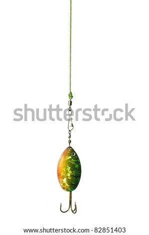 metal angling bait on white background - stock photo